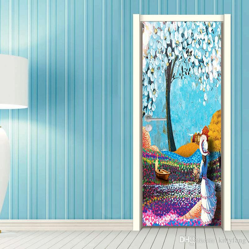 2Pcs/Set DIY Tree Flower Girl's Back Oil Painting Wallpaper Wall Sticker Kids Children Girls Living Room Bedroom Gift Home Decoration