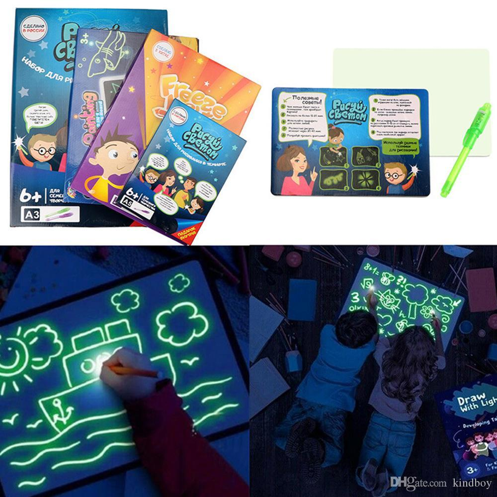 A3 A4 A5 LED Luminous Drawing Board Graffiti Doodle Drawing Tablet Magic Draw With Light Fun Fluorescent Pen Educational Toy
