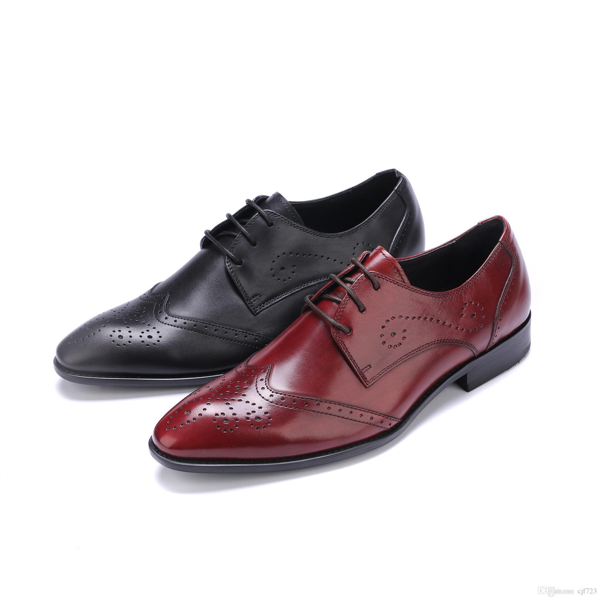 35c2a1d355c Acheter 2018 Hommes En Cuir D affaires Costume Robe Chaussures Hommes Marque  Bullock En Cuir Véritable Noir Lacer Des Chaussures De Mariage De  84.28 Du  ...
