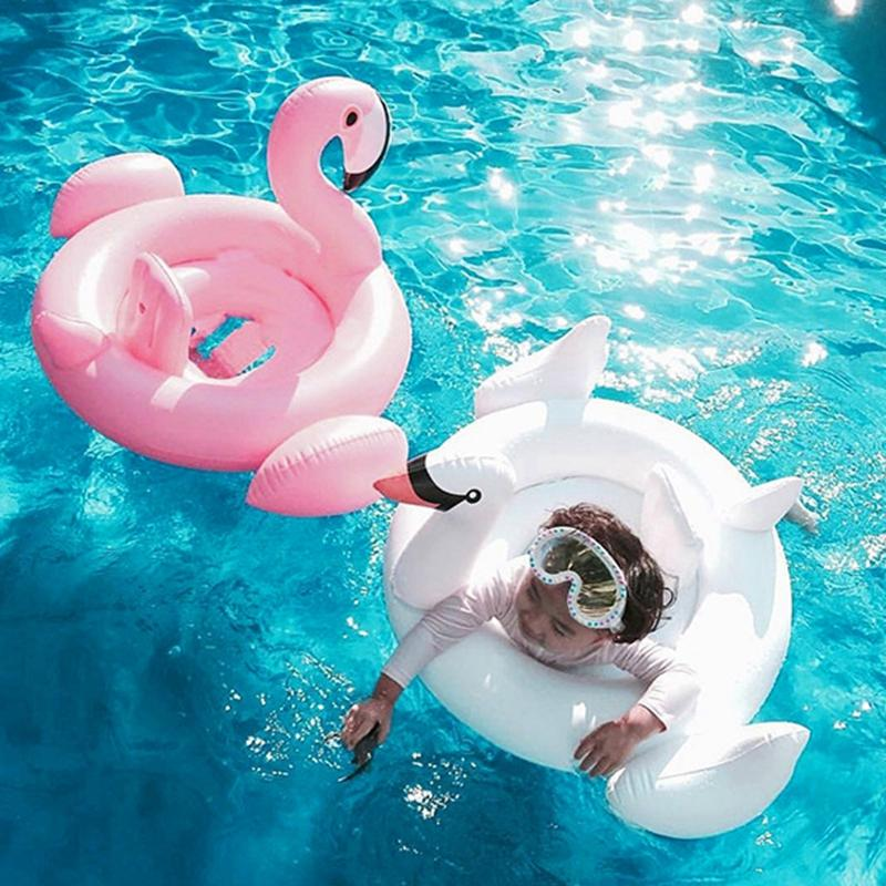 Kids Flamingo Inflatable Swimming Ring Swan Pool Air Mattress Float Toy Baby Water Toy Infant Swim Ring Cartoon Accessories TTA808