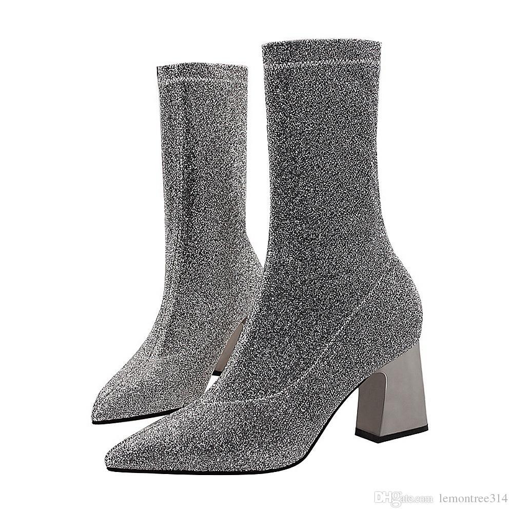 b1a6d0021 Femmes Sexy Mid Block Heel Glitter Bottines Bottes Lady Paillettes Bottes  mi-mollet Robe de soirée Chaussettes Bottes Bout Pointu Doux Stretch Boot