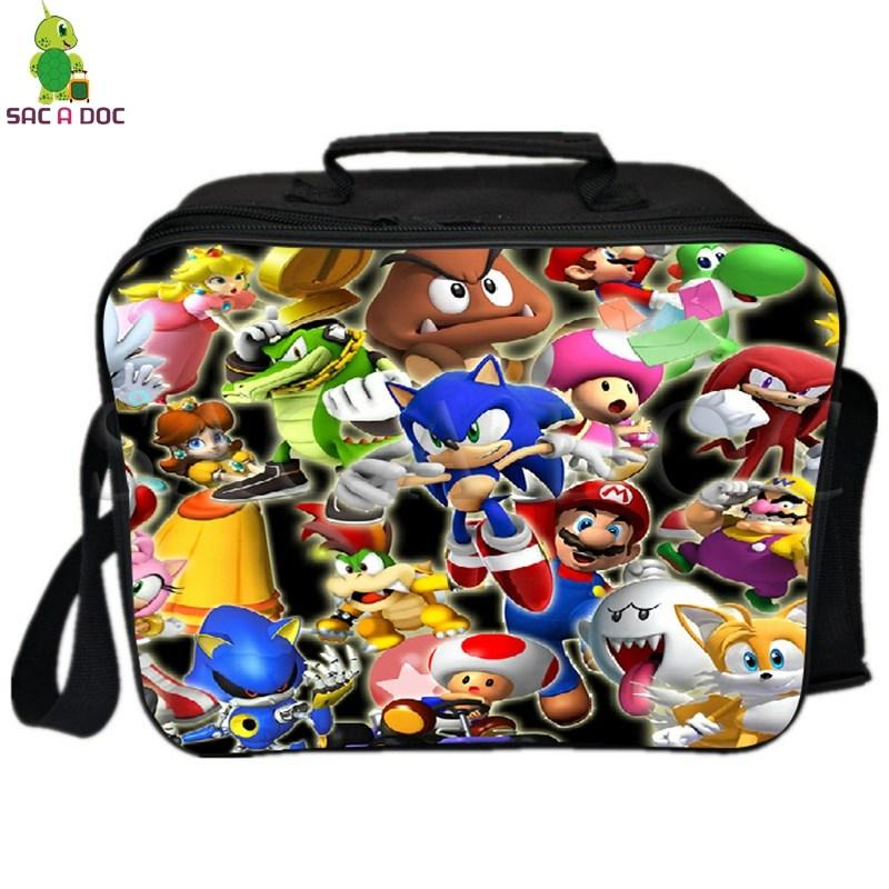 Super Sonic Shadow Lunch Bag with Ice Pack Thermal Insulated Bag Picnic Camping Shoulder Fresh Keeping Cooler
