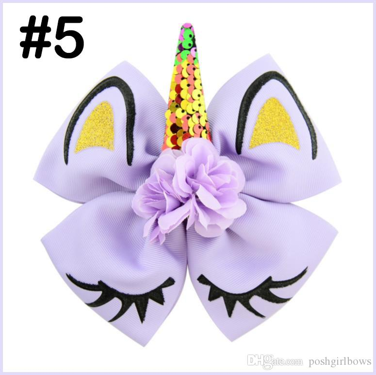 free shipping 50pcs Sequin Unicorn Hair Bows With Clips For Girls Kids Glitter Rainbow Ribbon Flower Eyelashes Bows Hair Accessories