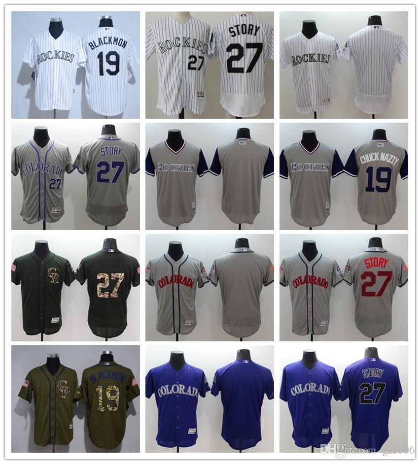 59d626eac custom Men's women youth Majestic Colorado Rockies Jersey #19 Charlie  Blackmon 27 Trevor Story Home Purple Grey White Kids Baseball Jerseys