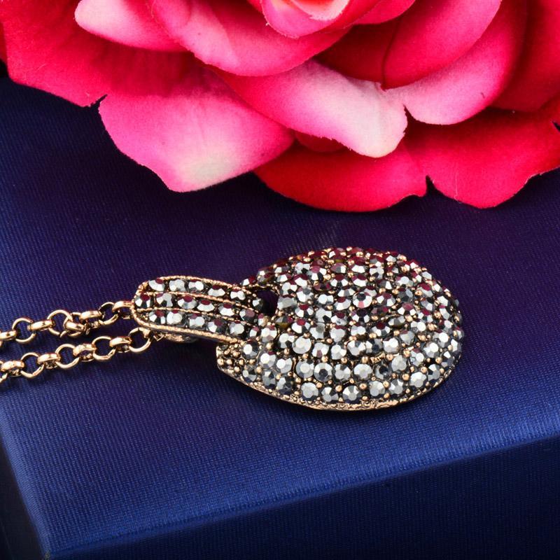 Vente Hot Vintage pleine Zircon Pendentif Collier Antique Or Argent Noir Gun Couleur Chaîne Collier Femme Bijoux XL650 SSD
