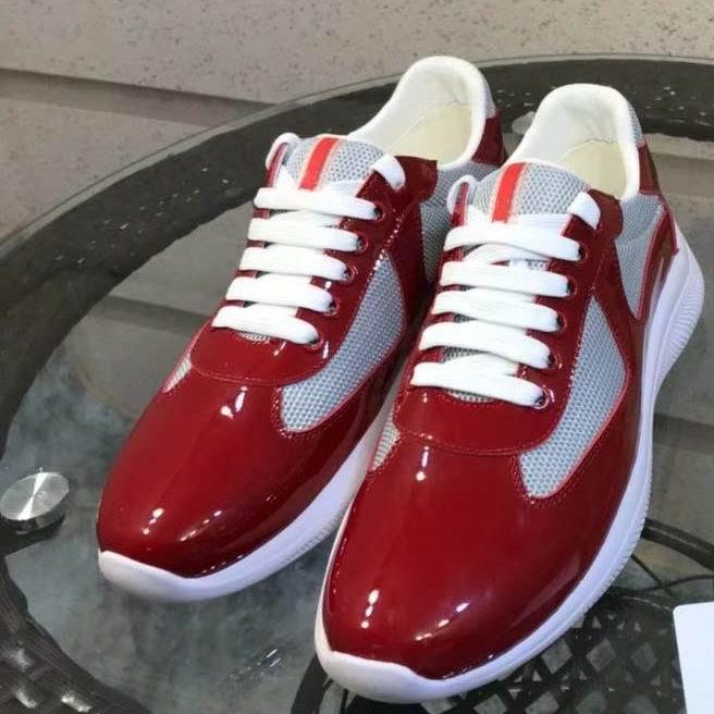 Italian New Mens Red Casual Comfort Shoes British Designer Man Leisure Shoes Shiny Patent Leather with Mesh Breathable Zapatos 38-45 L14