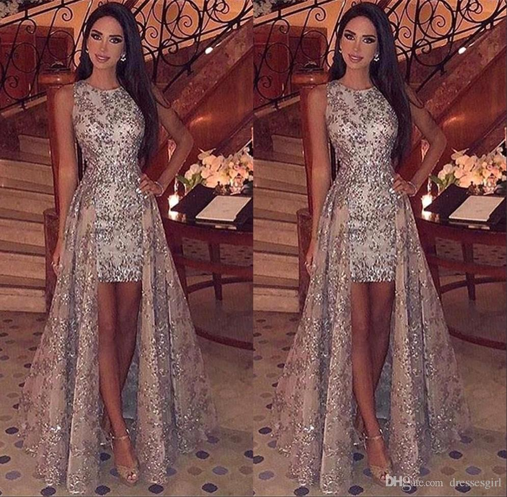 fbd1c760bcc96 Middle East Modest Silver Appliques Evening Dresses Sleeveless Jewel Neck  Short Prom Party Gown with Floor Length Train Formal Wear BC1955