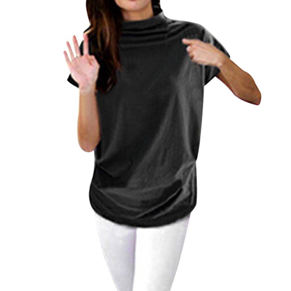 the best attitude d045e 3eedb Donna Casual a collo alto manica corta in cotone ragazza Solid Camicetta  casual Top Camicia donna Taglie forti Abbigliamento solido moda
