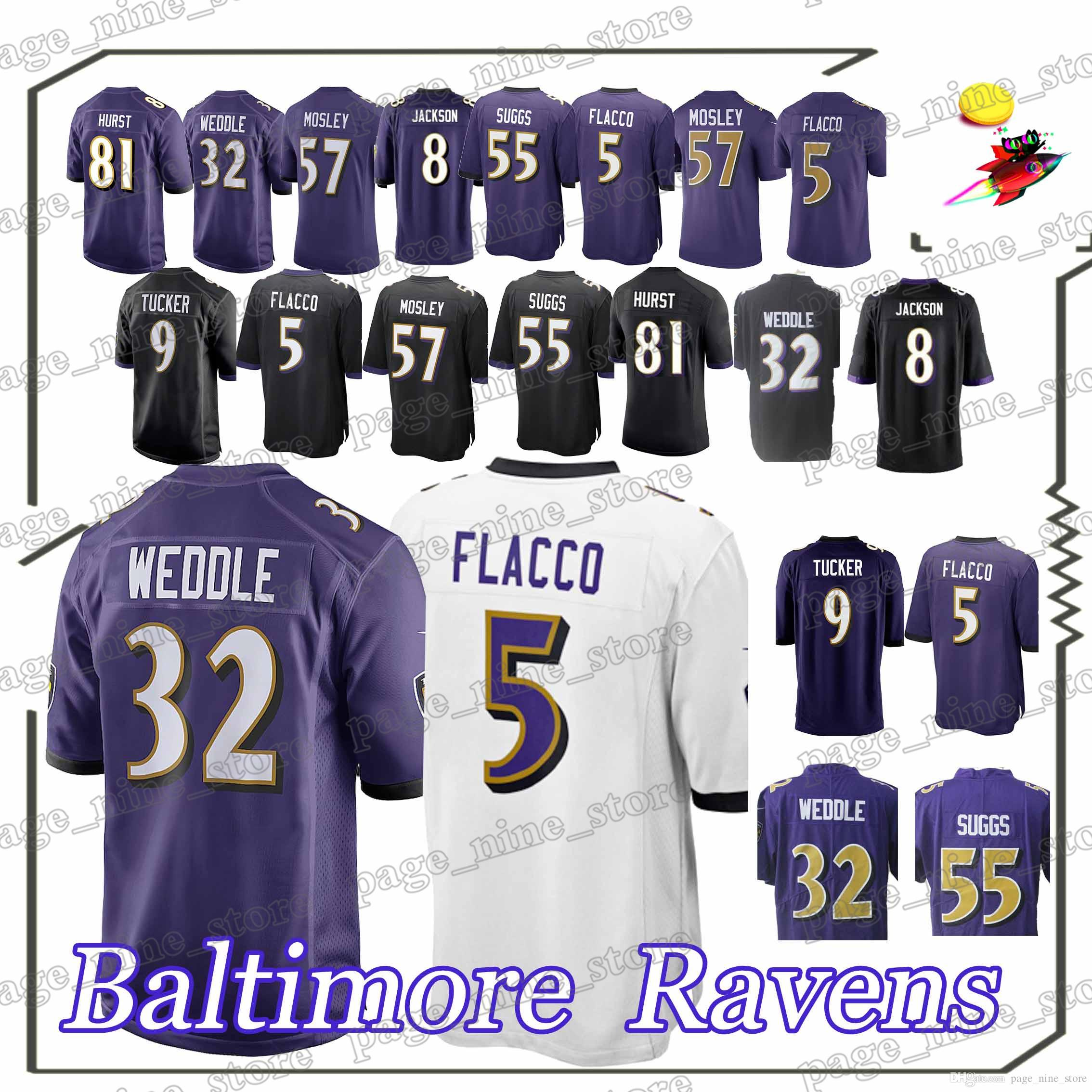 8aaa9bf0b Baltimore Raven Football Jerseys 5 Joe Flacco 32 Eric Weddle 8 Lamar ...