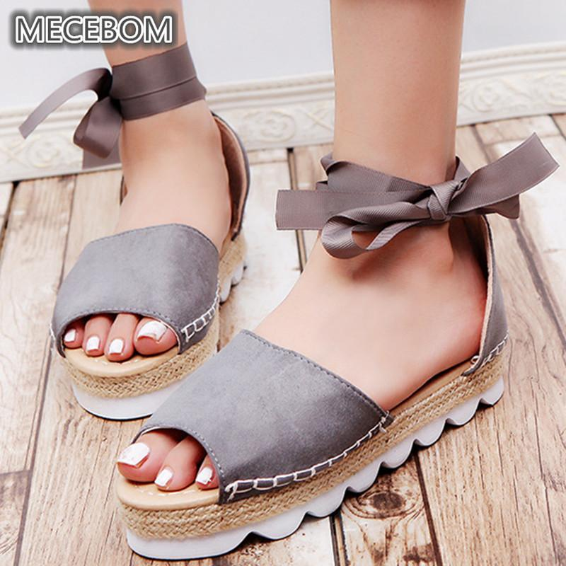 7656fc59fa1 Women Gladiator Sandals Casual Suede Flat Heel Platform Ladies Shoes Ankle  Lace Up Open Toe Flip Flops Sandalias Mujer 8888W Shoes Uk Flat Sandals  From ...