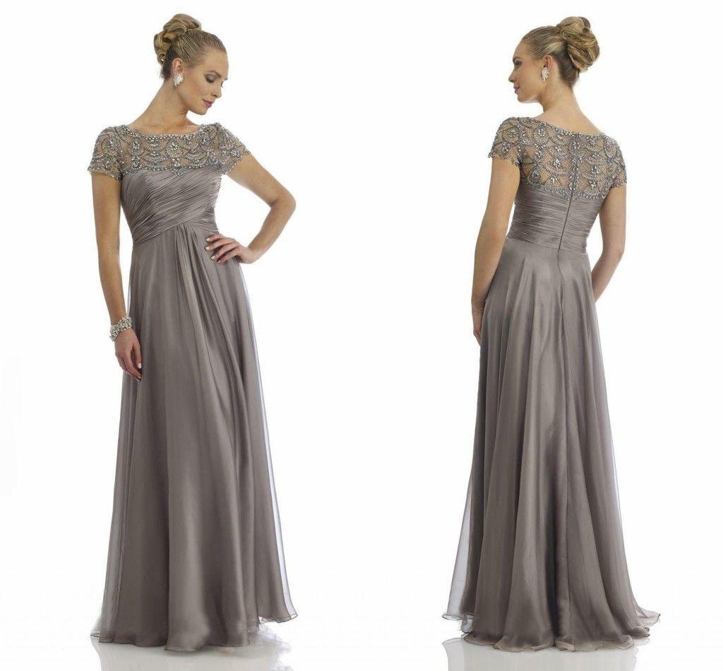 Glittering Grey Mother Of The Bride Groom Dresses Chiffon