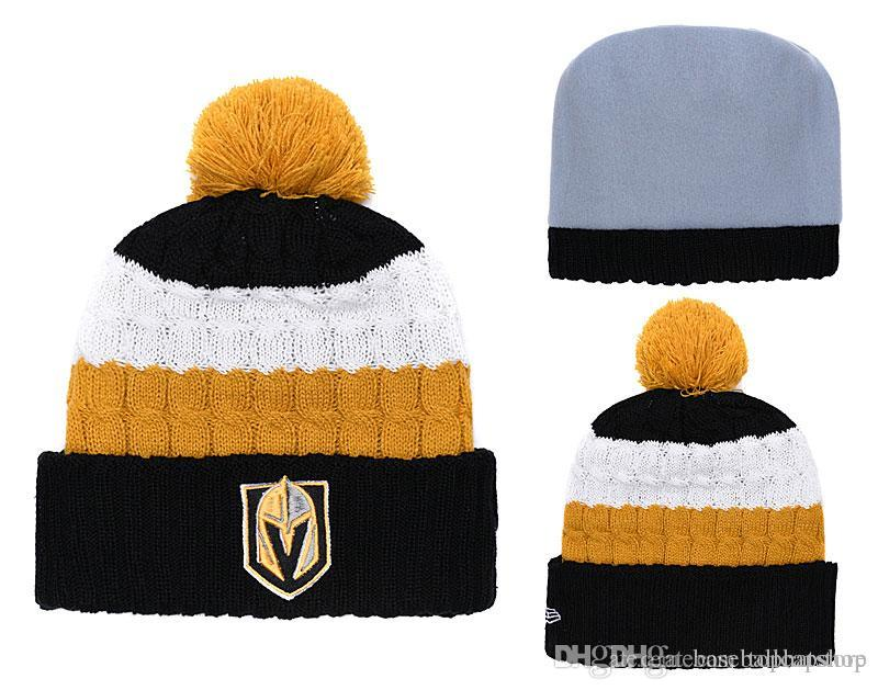 f7529a9c7e4 2019 Cheap Men Women Winter Out Door Beanies Fashion Fans Brand Hockey Vegas  Golden Knights Skull Beanie Hats Pom Cuffed Knit From Tophatstore