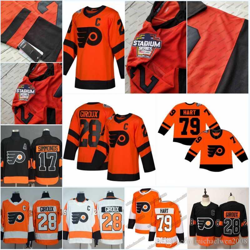 buy popular 1dfc3 f7002 2019 Stadium Series Jersey Mens 79 Carter Hart Philadelphia Flyers 28  Claude Giroux 17 Wayne Simmonds 14 Sean Couturier Hockey Jerseys