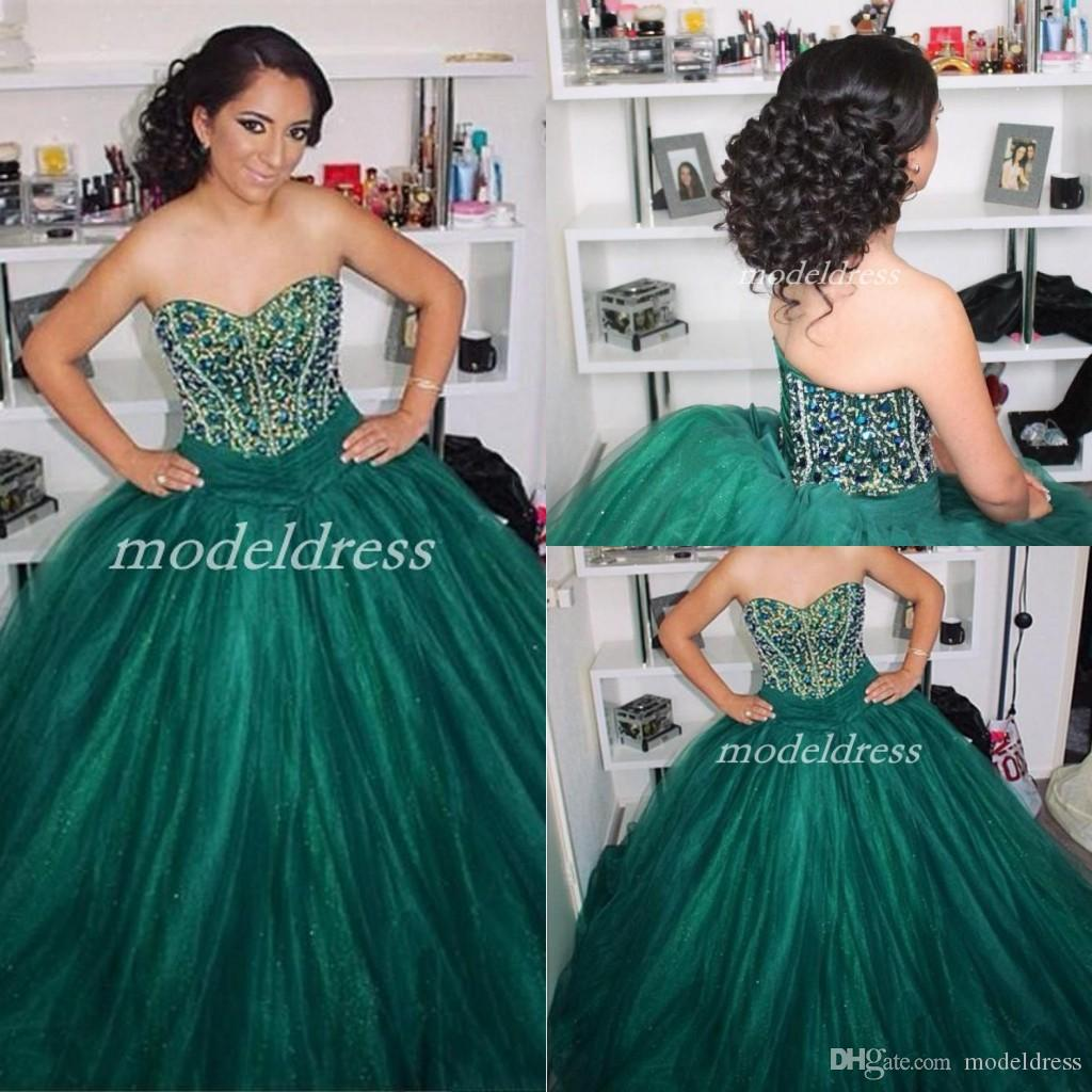 2019 Dark Green Ball Gown Quinceanera Dresses Sweet Heart Crystal Beads Lace  Up Prom Party Gowns For Sweet 15 Vestido De 15 Anos Quinceanera Dresses 2015  ... e9ed56735daf