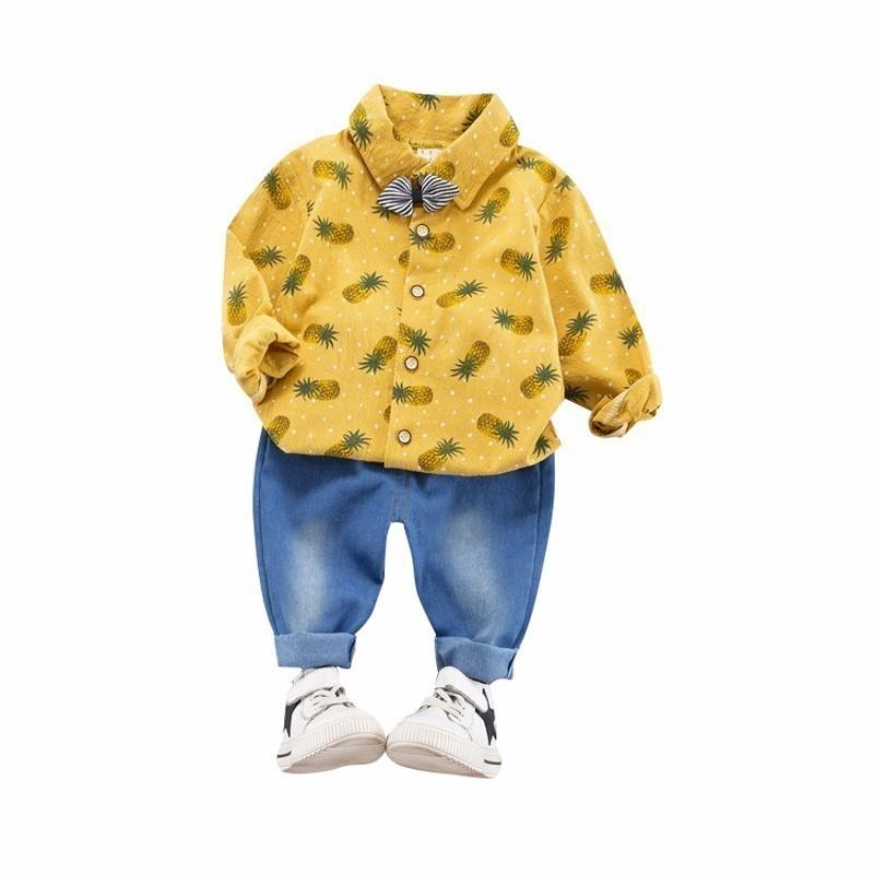 Spring Baby Boys Gentleman Clothing Infant Sets Kids Cartoon Printing Long Sleeve Lapel Bow Shirt Jeans 2Pcs/Sets Leisure Suits