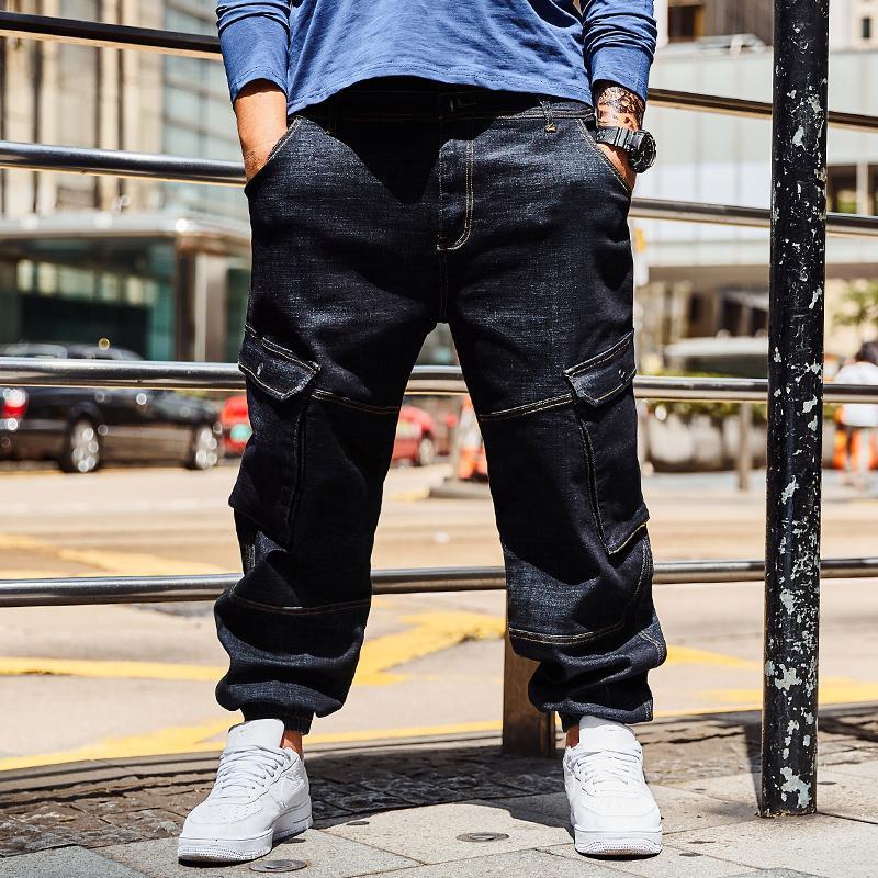 ef7630cf8d7 2019 Punk Style Multi Pocket Loose Black Jeans For Men Hip Hop Baggy Jeans  Homme Men S Biker Denim Trousers Plus Size 30 40 42 44 46 From Robertiu