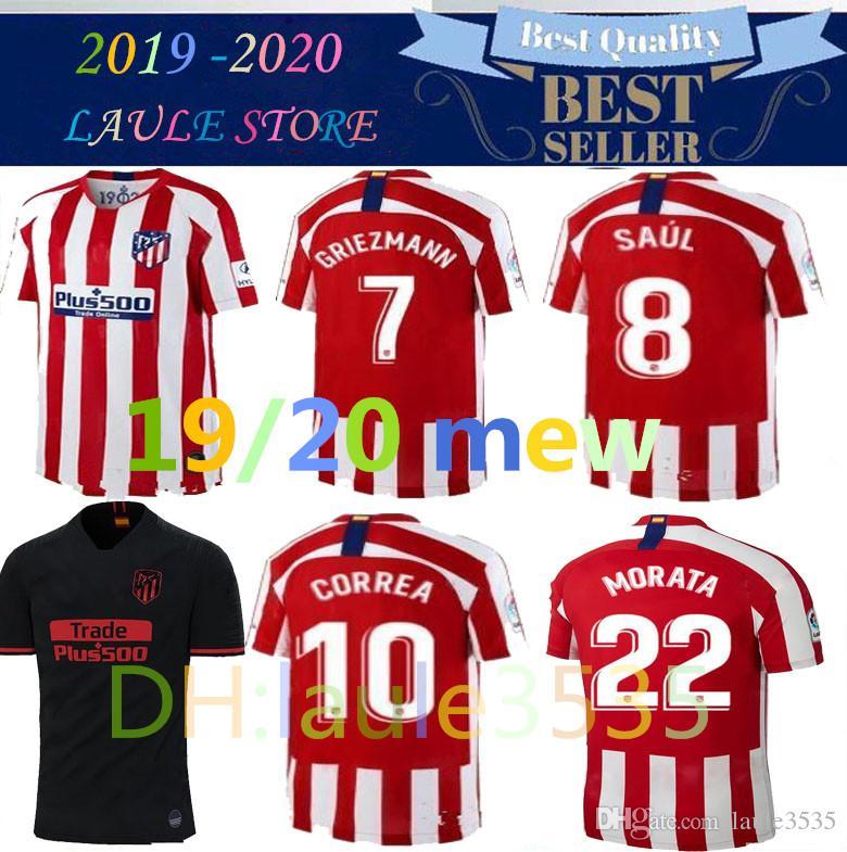 finest selection aa3ec 41282 19 20 Atletico de Madrid GRIEZMANN MORATA soccer jersey 2019 2020 KOKE GABI  SAUL DIEGO COSTA men kids kits away black Third football shirt