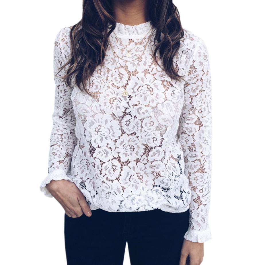 2019 Sexy Blouse Women Ruffle Shirts Cut Out Lace Tops Long Sleeve