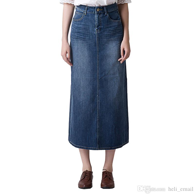0d99a90801 2019 Primavera e Estate Stretch Jeans Gonne Womens Bag Hip Split Femminile  Retro Vintage Slim Straight Maxi gonna lunga in denim
