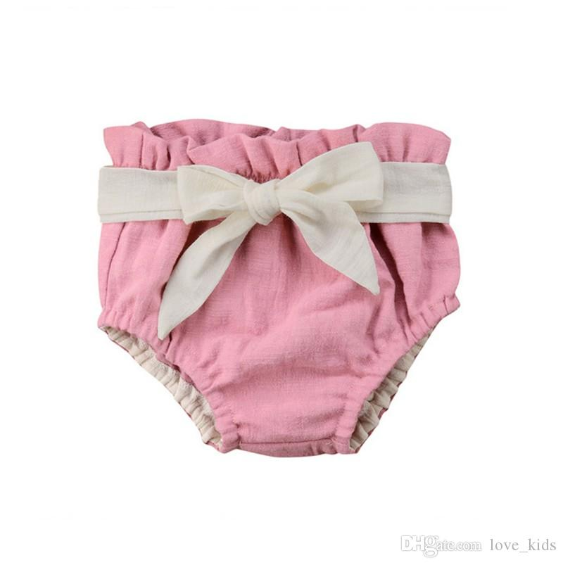 Summer kids pink shorts bow-knot cotton bloomers hot sale triangle shorts princess girl cotton nappy diaper covers shorts
