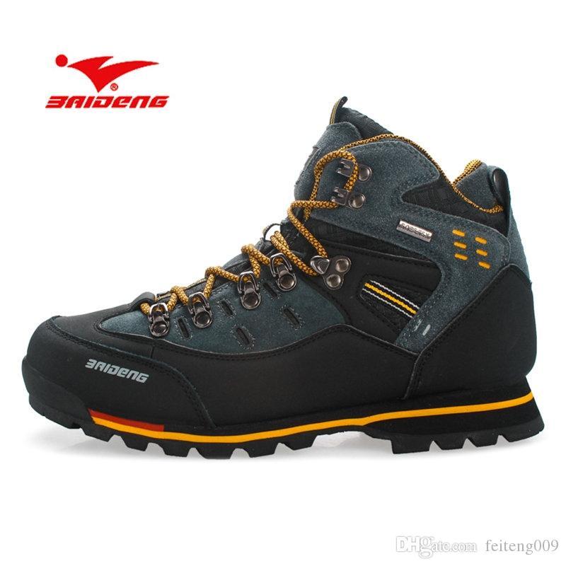 8403ccdfaac BAIDENG Men Hiking Shoes Waterproof Leather Shoes Climbing & Fishing New  Popular Outdoor Men High Top Winter Boots #4376