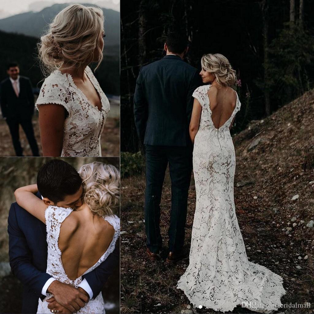 Discount White Lace Garden Boho Wedding Dresses 2019