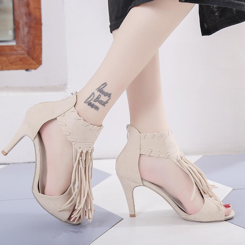 177b19c0dda Compre Vestido De Moda Sandalias De Tacón Alto Mujeres Bombas Zapatos De Verano  Peep Toe Mujeres Sandalias De Gladiador Sexy Fringe Señoras Cremallera ...