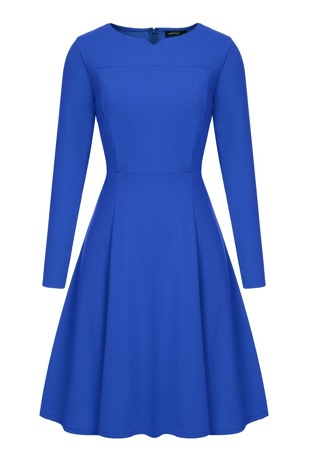 a2c7ba93966a0 Mixfeer Womens 1950s 60s Vintage A-line Dress Elegant Classy Office  Business Long Tea Midi Dress Dark Blue Casual Autumn Dress