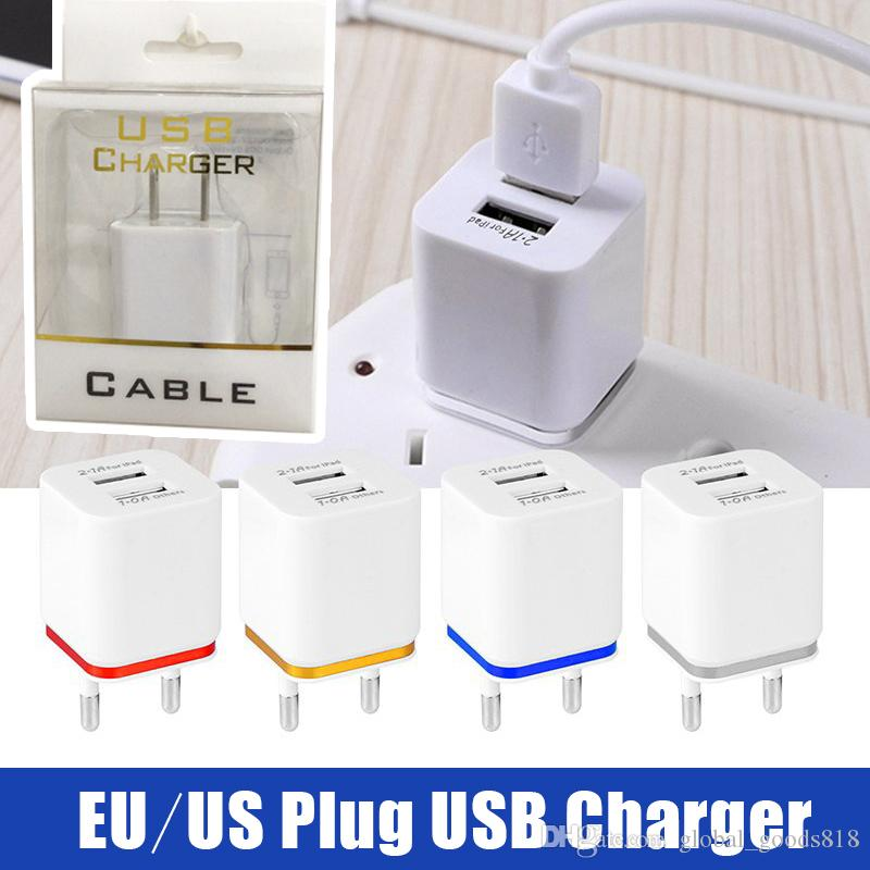 Portable Charger 5V 2 1A Samsung Fast Charger US EU Plug Travel Power  Adapter Quick Charging for iPhone Huawei Mi with Package