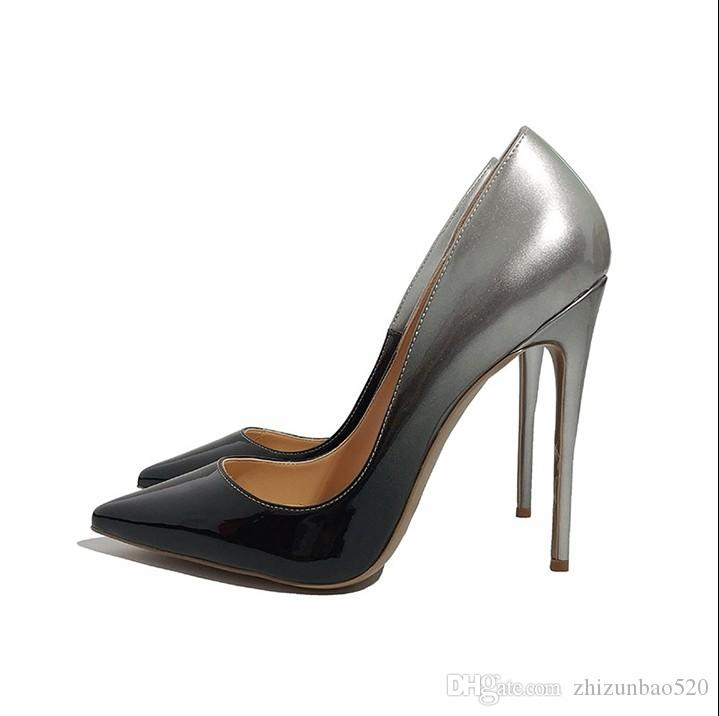 cf4a0582e8bb Casual Designer Sexy Lady Fashion Woman Black Silver Women High Heels Shoes  Sexy Slip On Pointed Toe Heels Size 44 Womens High Heels Shoes High Heel  Shoes ...