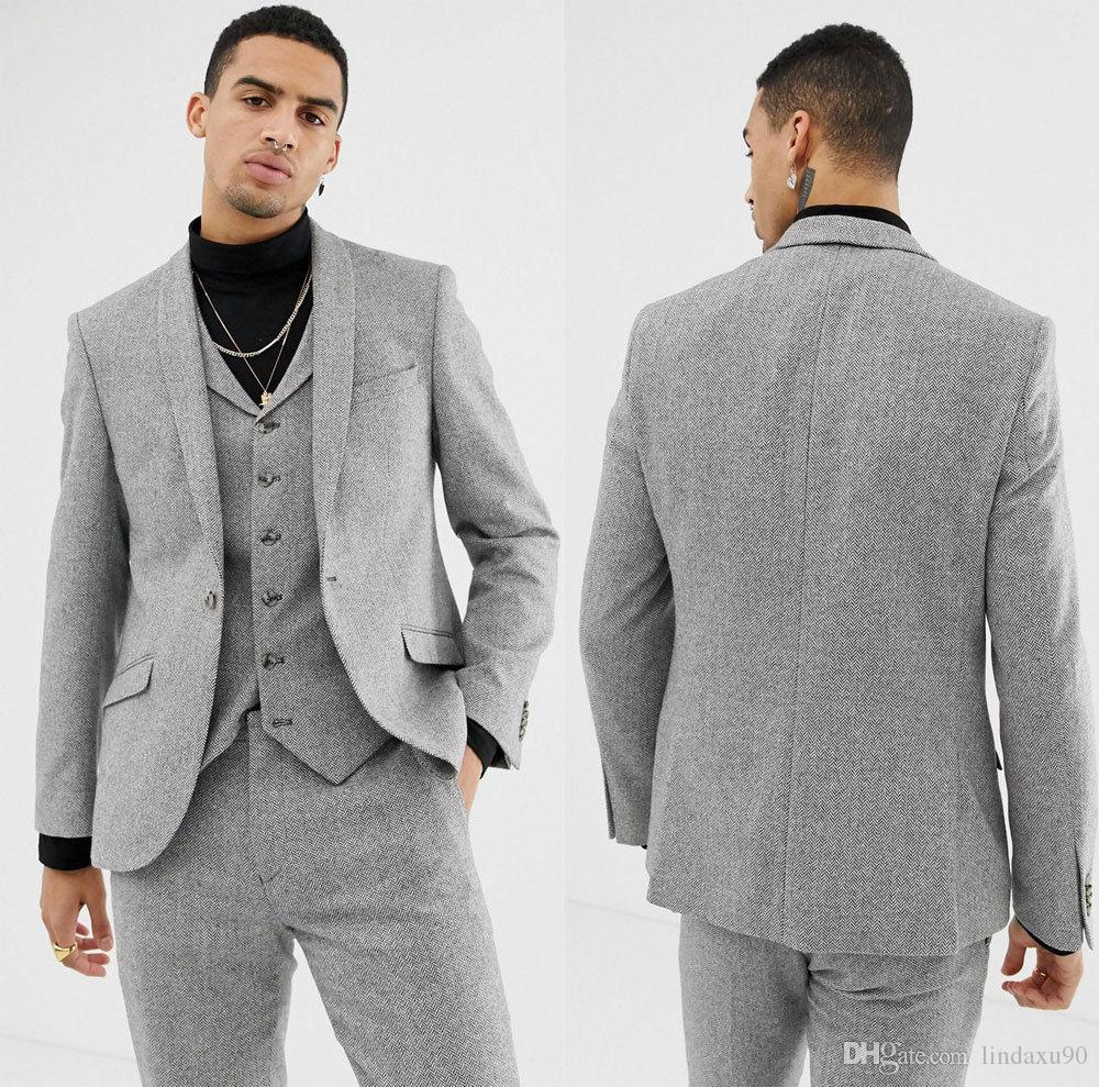 b5923f5987587f Men's Light Gray Wedding Tuxedos Herringbone 3 Piece Suits Wool Vintage  Formal Tailored Fit Boys Suit (Jacket + Vest+ Pants)