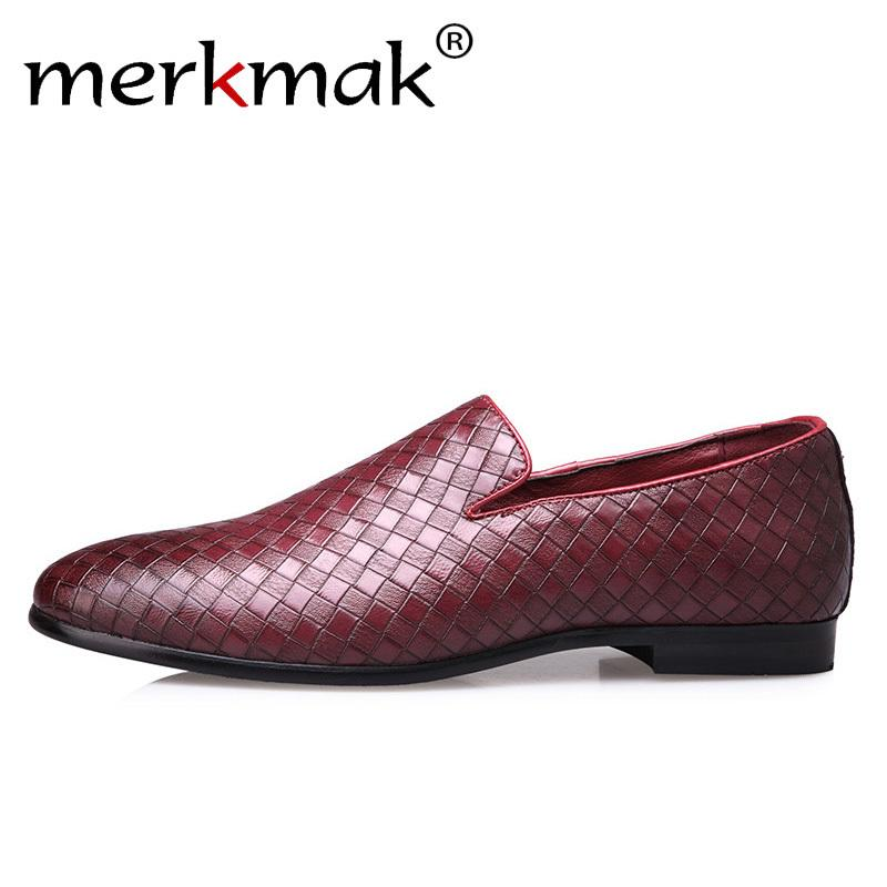 Merkmak Summer Weave Men Loafers Leather Shoes Casual Slip On Soft Male Dress Shoes Big Size 37-47 Flats Drop Shipping MX190717