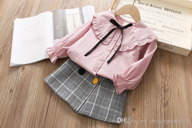 1f9748fed Ropa de niña Primavera niños Arco camisa falda plisada 2 piezas conjuntos  moda chicas traje 5 p / l