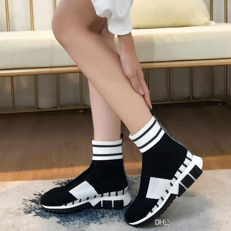 Designer Slip on Men Sock Boots Luxury Black High Breathable Elastic Women Boots Trick Bottom Outdoor Sports Style Shoes