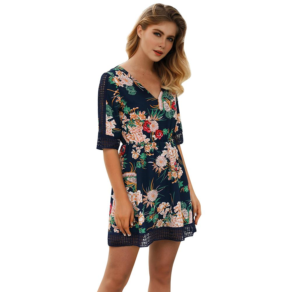 325d5e2a58 2019 Summer Women Mini Dress Floral Print V Neck Half Sleeve Hollow Out  Casual Dress Female Slim Elegant Dress Red Green Blue Evening Dresses For  Women Semi ...