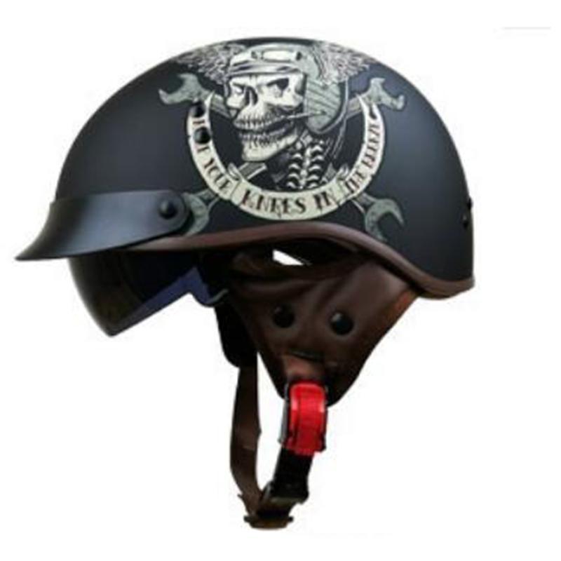 Men Motorcycle Helmet Vintage Open Face Motorcycle Helmet Ghost