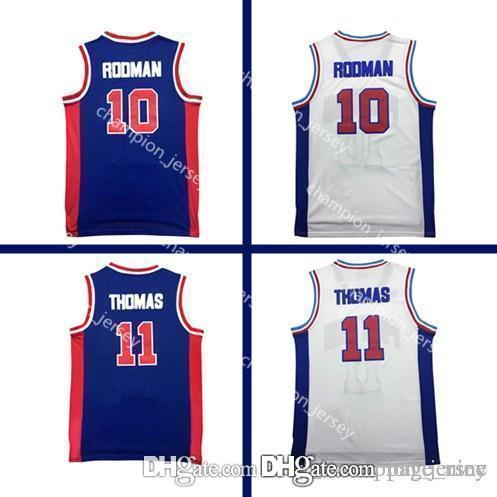 check out e8a19 a3a9e Pistons Dennis 10 Rodman Jersey Isiah Jersey 11 Detroit Basketball Jersey  Retro Cheap Men s Basketball Jerseys Embroidered Logos