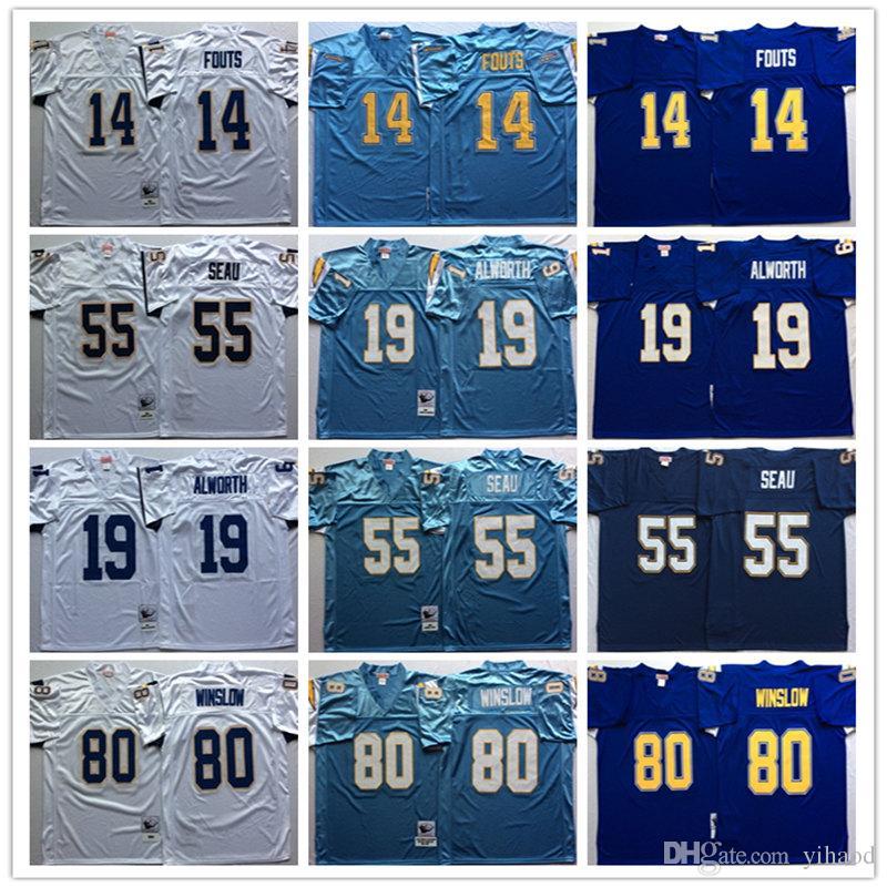 the latest 335cf f2136 NCAA 14 Dan Fouts 19 Lance Alworth 55 Junior Seau 80 Kellen Winslow  Stitching Embroidery Football Jerseys Top Sell Men Jersey