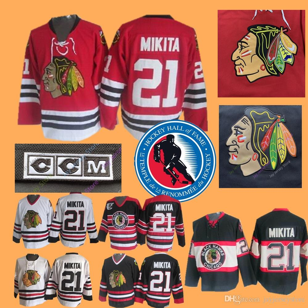 Stan Mikita Jersey With 1983 Hall Of Fame Chicago Blackhawks Jerseys Ice Hockey  Black White Home Away Mike Trout Jersey Online with  36.69 Piece on ... c648f1960