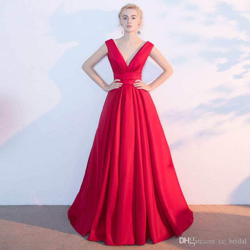 122b02b04f6 Sparkle Red Satin Prom Dresses For Women 2019 Sexy V Neck Formal Evening  Dress A Line Cheap Party Gowns Floor Length Vestido De Festa New Formal  Dresses ...