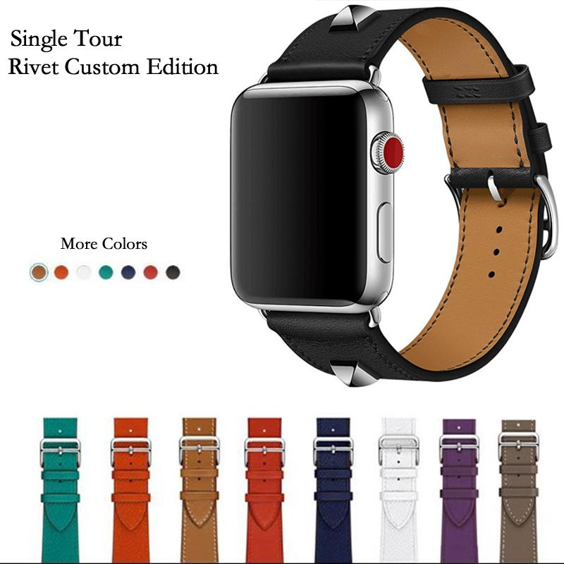 Newest Genuine Leather Rivet Custom Edition Single Tour Watch Band Strap For Herm Apple Watch Series 4 1 2 3 Iwatch 38 42mm T190620