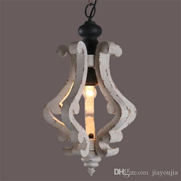 Shabby Chic Style Cottage Distressed White Wooden Scrolled Arms 1-Light  Pendant Light Living Room Kitchen