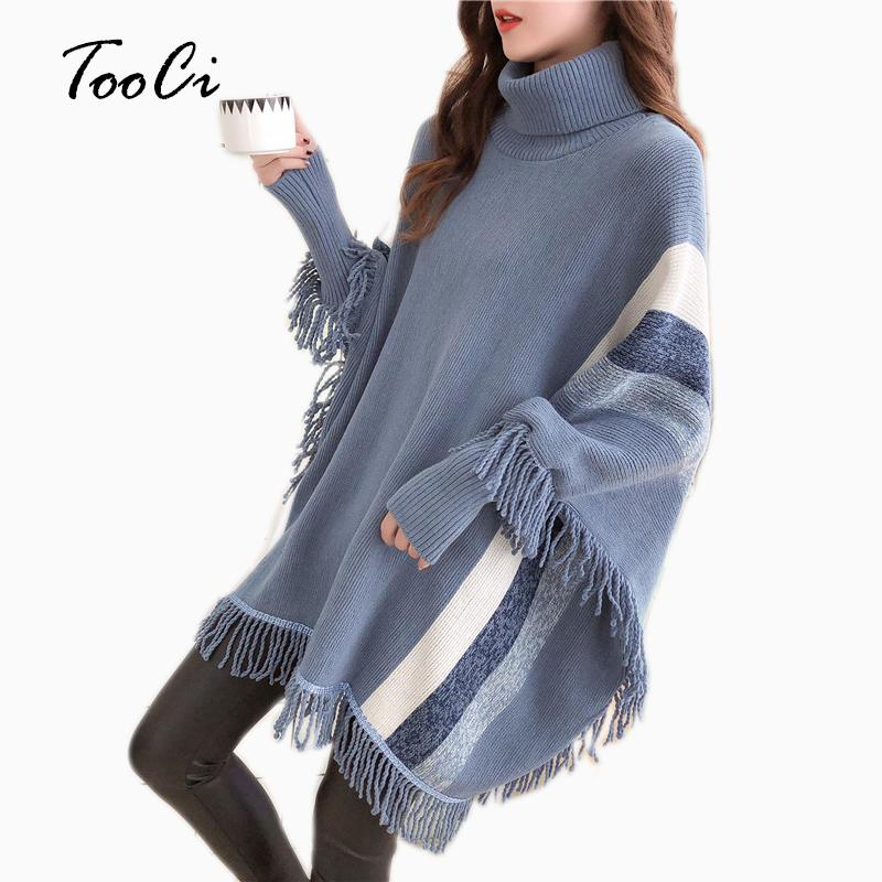 487586cbb24 Womens Capes And Ponchoes 2019 Spring Women Fashion Blue Tassel ...