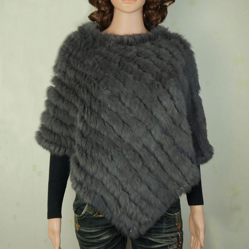 391c15491ca50 YCFUR Warm Winter Shawls Ponchos For Women Handmade Knit Real Rabbit Fur  Poncho Women Scarves Shawls With Fur Collar Trims D19011004 Shawls And Wraps  Tying ...