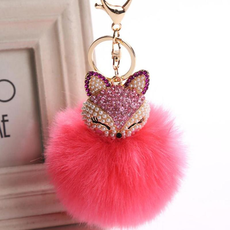 Fashion Jewelry Key Chains KMVEXO Lovely Fox Rabbit Fur Ball Fluffy Key Chains Rings Crystal Pearl Hot Sale Bag Pendant Keyrings KeyChains