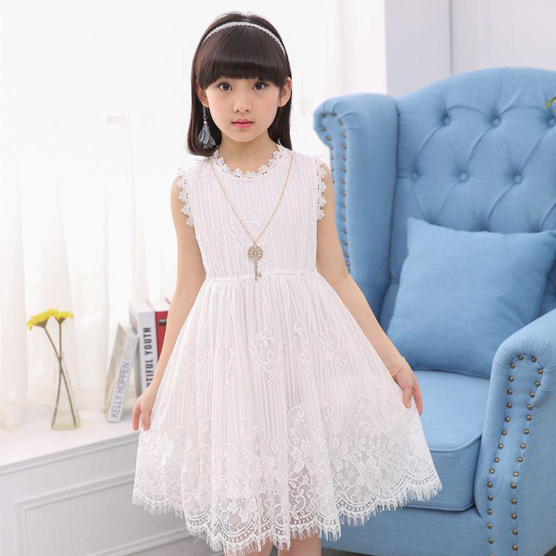 ad197477383e Vestido de verano para niña 2019 Nuevo estilo de encaje delgado vestido de  princesa Marca Moda Elegancia Vestido bohemio simple