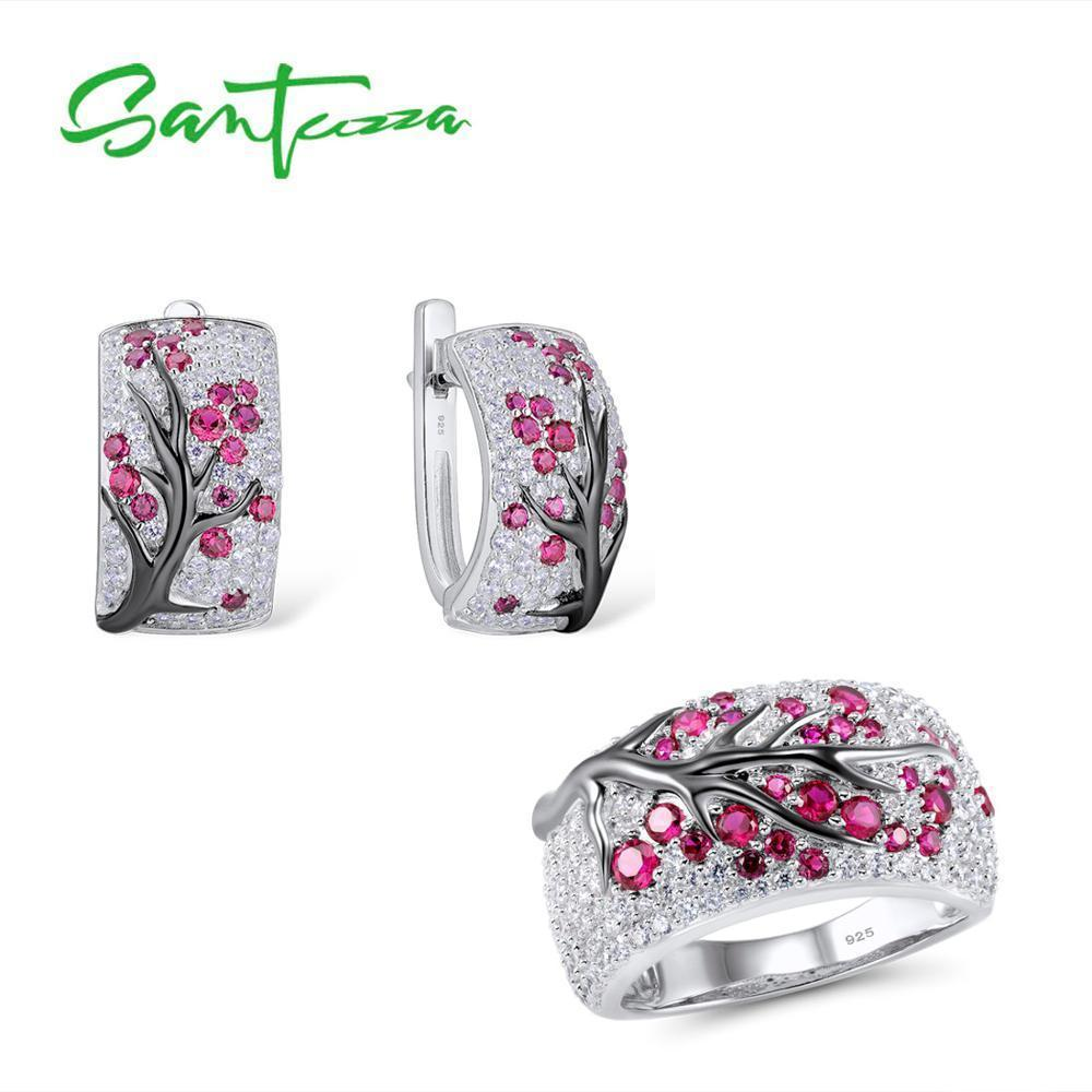 ecd6abc0c 2019 Santuzza For Women Shiny Pink Tree Earrings Ring Set Pure 925 Sterling  Silver Delicate Fashion Jewelry C19041701 From Shen84, $63.88   DHgate.Com