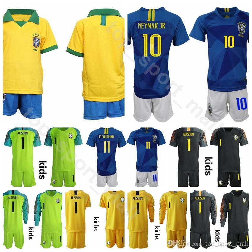 new arrivals 58dcb b94b5 Youth Brazil Jersey 19 20 Soccer Set Kids 10 NEYMAR JR 11 COUTINHO 9 JESUS  12 MARCELO SILVA Child Football Shirt Kits Uniform