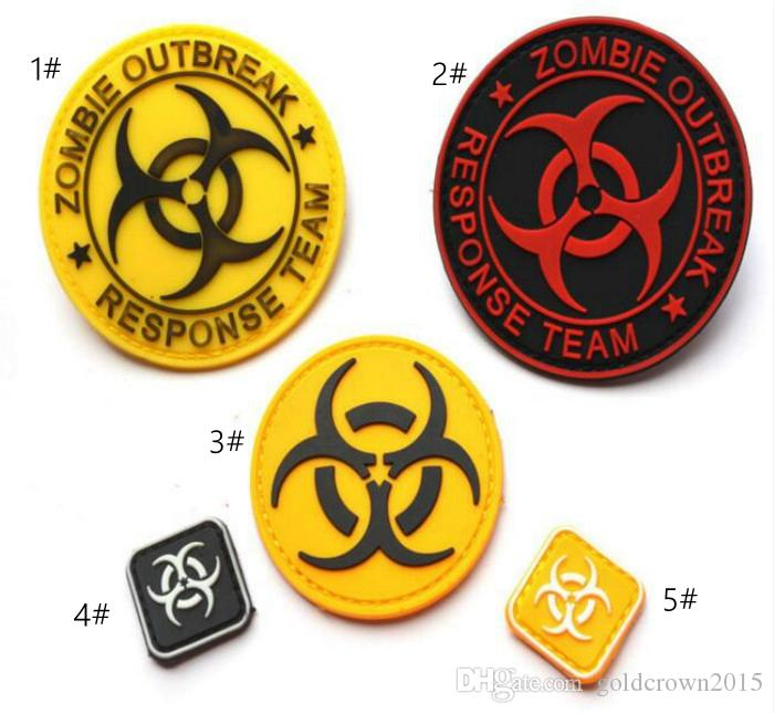 GPS-023 military 3D PVC tactical patches with stick ZOMBIE HUNTER OUTBREAK RESPONSE TEAM rubber Armband army patch for cap and bag