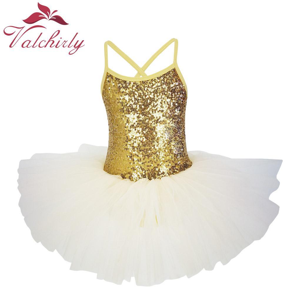 f0b4134b57e7 2019 New Golden Ballerina Costume Sequins Ballet Dress Girls Dance ...